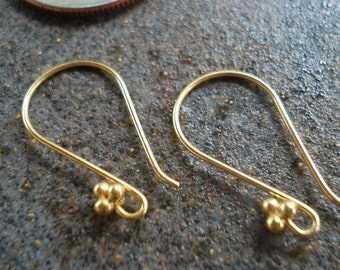 Ear Wires, Vermeil 24 Gold Plated Ear Wires, Height is 21 mm,  pkg of 2