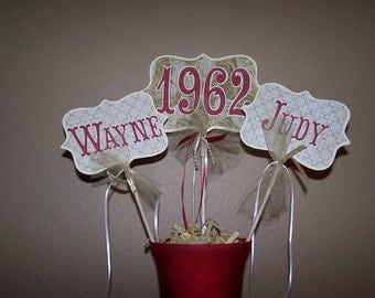 Anniversary Centerpiece Gold Golden 50th Large Picks Burgundy Red Cream Decor Table Custom Personalized