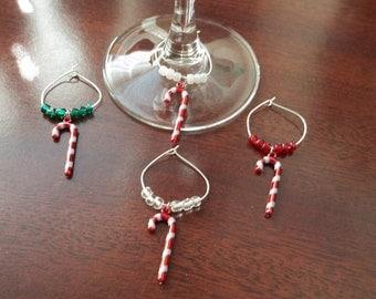 4 pc Candy Cane Wine Charm Set