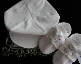 White Cotton Baby Newsboy Hat and Shoes, Sizes Newborn to 18 months, Christening, Baptism, Dedication, Easter, Special Occasion