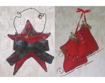 Ice Skate and Star CRAFT PATTERN Christmas ornaments PDF e-pattern