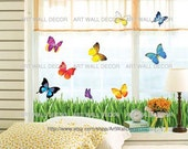 Multi-color Butterflies Flying over the Grass - PEEL and STICK removable Vinyl Wall Decal, Wall Sticker, Wall Decor (FREE shipping)