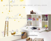 Bunnies Rabbits Ladder Harvesting Constellation - PEEL and STICK removable Vinyl Wall Decal, Wall Sticker, Wall Decor (FREE shipping)