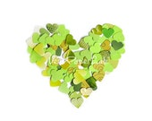 Mix of little hearts punches in green shades - coriandoli