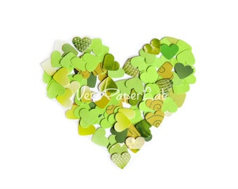 Mix of little hearts punches in green shades - confetti