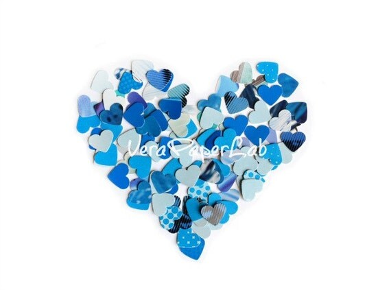 Little hearts punches in blue shades - confetti