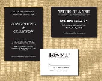 DIY Printable Wedding Stationery Package - Invitation, Save the Date, RSVP Card, Program, Table Number, Escort Card, Menu