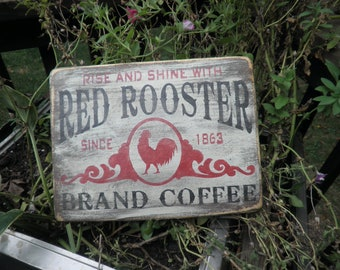 Primitive country sign, home decor , wood sign, rooster sign, chicken sign, kitchen sign, coffee sign , wood sign, hand painted, sign,