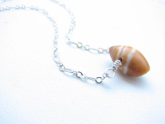 Delicate SeaShell Choker Necklace  Silver Chain WIre Wrapped Small Shell Jewelry Orange and Cream Seashell Beach Wear