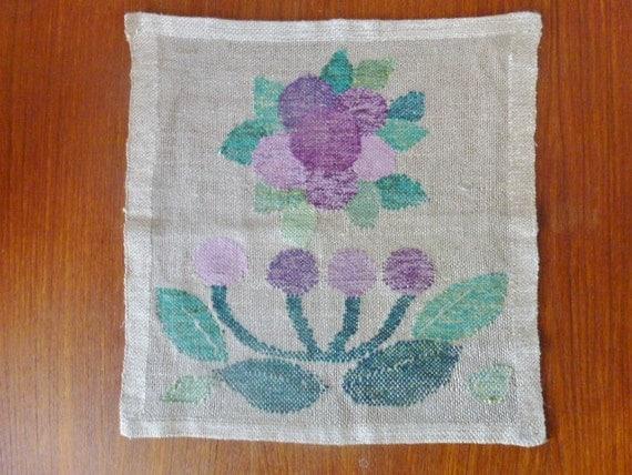 SALE Vintage Swedish tablemat / Linen wall hanging