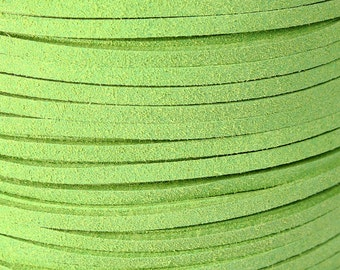 3mm Green faux suede cord - 10 feet (740) - Flat rate shipping