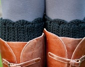 Boot Cuff Crochet- Black Scallop Boot Toppers