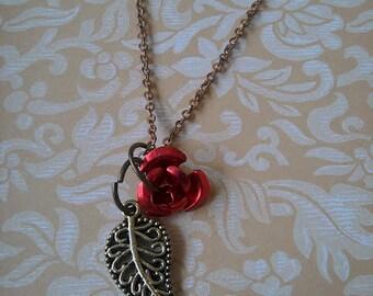 Rose and Leaf Necklace