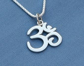 Om Necklace in Sterling Silver, Yoga Jewelry, Ohm Necklace, Buddhist Jewelry, Om Charm,Ohm Pendant, Zen, Yoga, Karma Necklace, Om Necklace