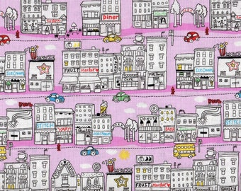 Fat Quarter, City Fabric, Vehicle Fabric, Pink Fabric, Mini City Fabric, Timeless Treasures