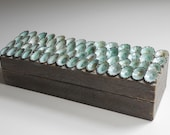 Uncommon pale blue-gray Treasure Box crowned with blue limpet shells - Myrtos Long