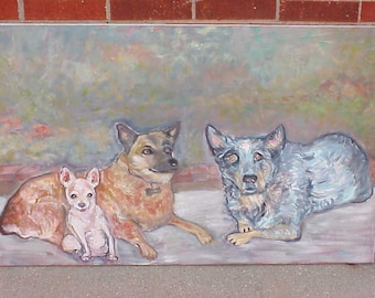 Blue Dog and Friends Large Original Oil Painting