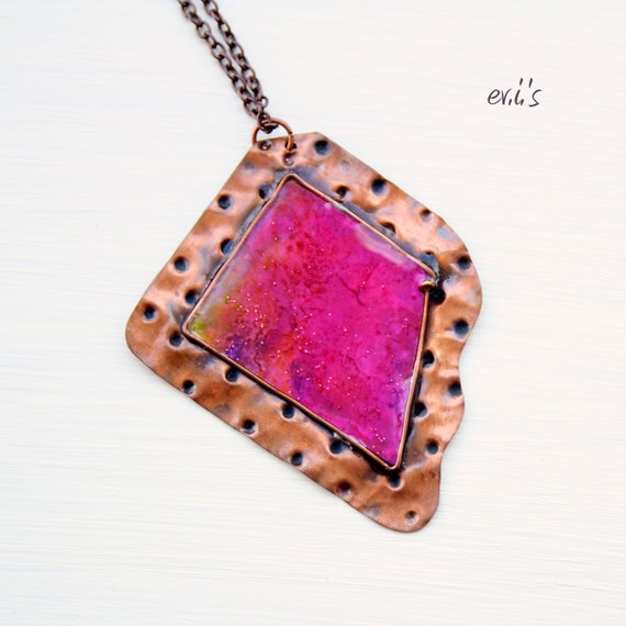 RESERVED Handcrafted Oxidized Copper Dot Hammered Textured Soldered Square Pendant with Pink Paper and Resin Metalwork Gift for Her