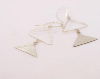 Double Triangle Sterling Silver Earrings