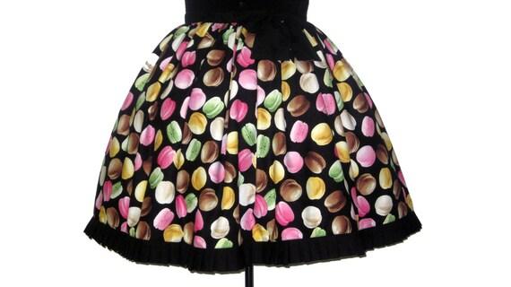 Lolita Skirt- I Love Macarons -Plus Size -Partial Elastic back
