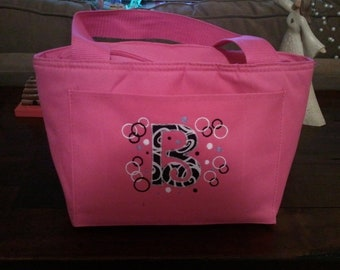 Appliqued Personalized Embroidered Lunch bag in many colors