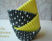 """Cupcake Liners - Baking Cups  Yellow and Black Dot    50  Standard  """"  Bumble Bee  """""""