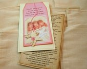 New Baby Triplet Photo Announcement, Pink baby girl, Vintage book page, Vintage birth announcement, Someday, Winnie the Pooh, Wallet Photo