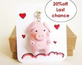 Truelove Pig necklace, clay pink pig totem