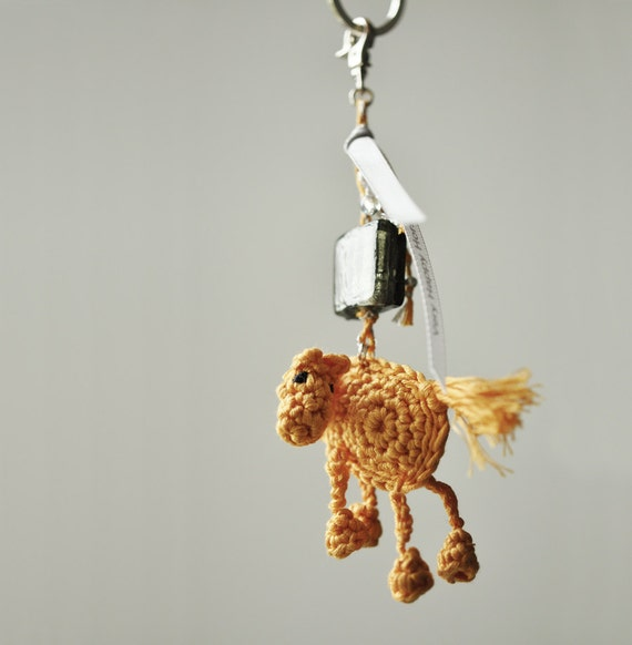 Little Warm Yellow Very Happy Horse Keychain in Crochet with Beads