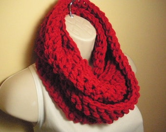 Scarlet Red Cowl Infinity Circle Scarf Neckwarmer