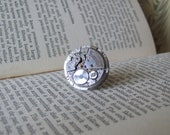 Steampunk Watch Movement Ring, Upcycled Jewelry, Silver Watch Movement