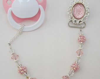 Sparkly PINK Pacifier clip with matching crystals and Beads (CSPP)