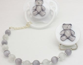 Grey Teddy Bear Pacifier clip with Grey and White Beads (CTG)