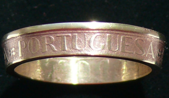 Brass Coin Ring 1986 Portugal 10 Escudos - Ring Size 10 and Double Sided