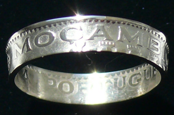 Silver Coin Ring 1954 Mozambique 10 Escudos - Ring Size 9 1/2 and Double Sided