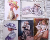 Victorian woman art Cards lace fashion nostalgic ladies hat flowers 5 card set