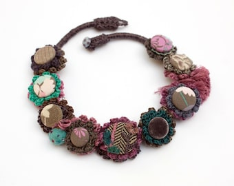 Fiber art necklace, crochet, embroidered with fabric buttons - brown, pink, teal - OOAK