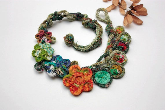 Handmade knitted necklace with bamboo and textile beads, green orange blue, OOAK