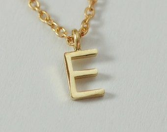 Letter Pendant in Solid 14K Gold on Yellow Gold filled chain