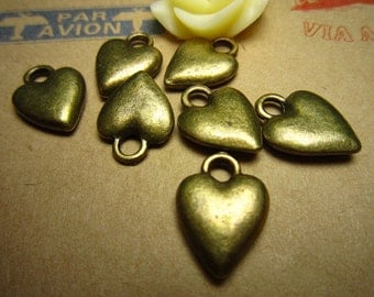 50pcs 14x10mm antique bronze love heart charms pendant R23454