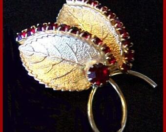 "Red Garnet Rhinestone Brooch Pin Gold Metal Floral Leaf Design 2"" Vintage"