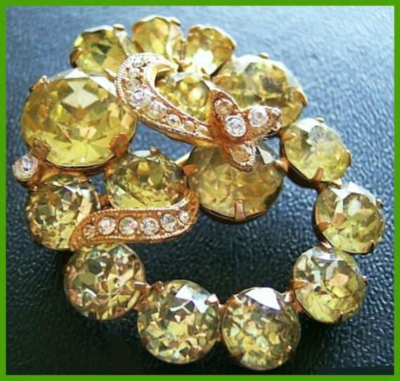 "Reserved Maggie: Vintage EISENBERG Brooch Pin Tiered Green Glass Rhinestones Art Deco 2"" EX"
