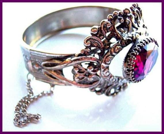 Vintage VICTORIAN Bracelet Clamper Style Huge Fancy Purple Rhinestone Silver Metal