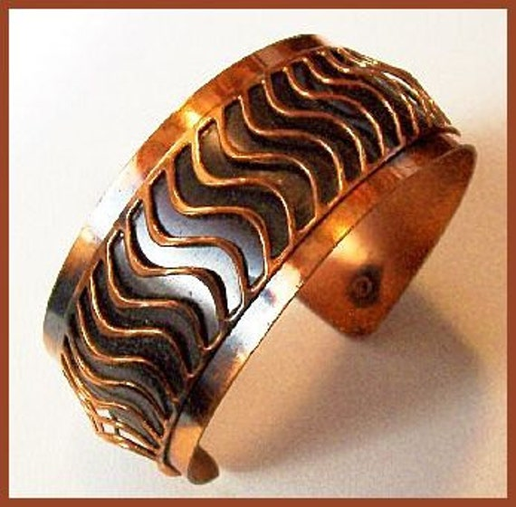"COPPER Bracelet With Black Enamel Curved Wire Cuff Style Modernist Jewelry 1"" Wide Vintage"