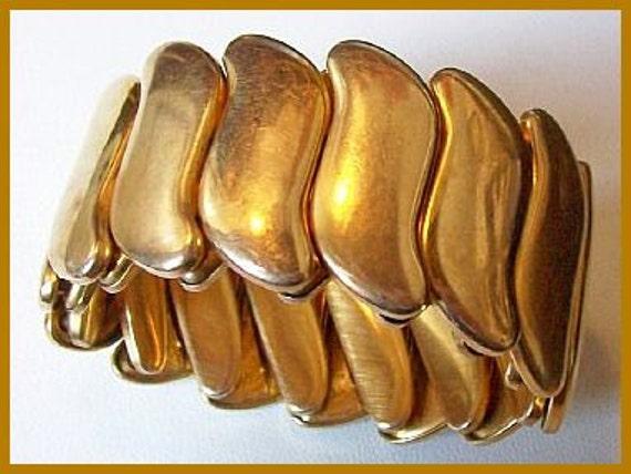 """Vintage Expansion Bracelet Signed B&N BIG WIDE Gold Plated Metal 1 1/4"""" VG"""