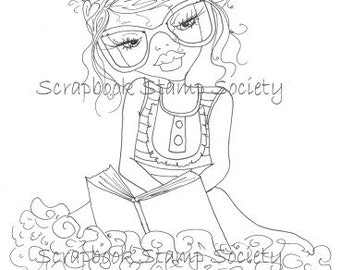 INSTANT DOWNLOAD Digital Digi Stamps Brooksie Book Nerd  By Sherri Baldy