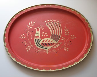 Large Coral and Gold Peacock Folk Art Tray