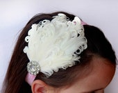 White Swan Headband...Elegant Pure White Nagorie Feather Pad Headband..Flower Girl Bridesmaid Wedding Headband...Made to Order in Any Size