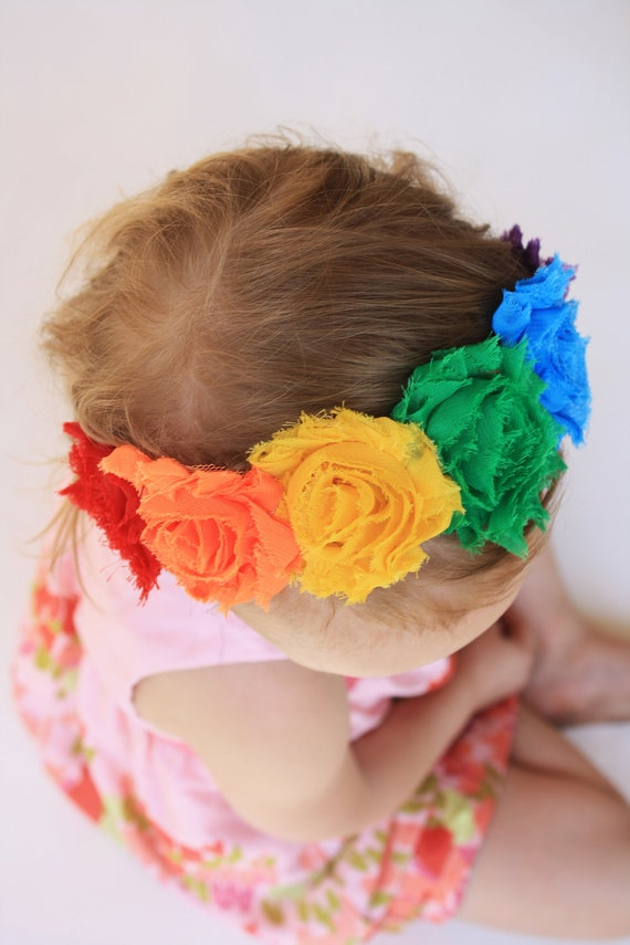 The Rainbow Flower Crown Headband - Shabby Chic Flower Headband Colors of the Rainbow - Shabby Chic Little Girl Headband - Made to Order