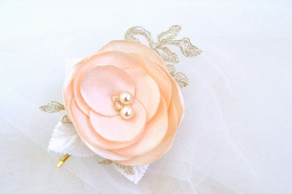 Peach Flower Hair Bobby Pin with Lace Romantic Hair flower Accessories Bridesmaids Hairpiece